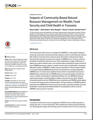 Impacts of Community-Based Natural Resource Management on Wealth, Food Security and Child Health in Tanzania
