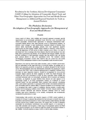 The Phakalane Declaration On Adoption of Non-Geographic Approaches for Management of Foot and Mouth Disease