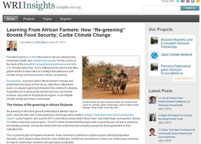 "WRIInsights - Learning from African Farmers: How ""Re-greening"" Boosts Food Security; Curbs Climate Change"