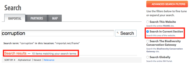 FRAME Search in Section