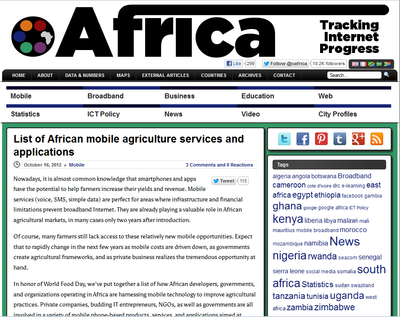 List of African mobile agriculture services and applications