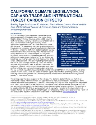 California Climate Legislation: Cap-and-Trade and International Forest Carbon Offsets