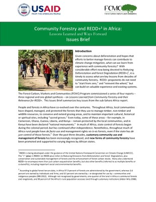Lessons Learned from Community Forestry in Africa and Their Relevance for REDD+: Issues Brief