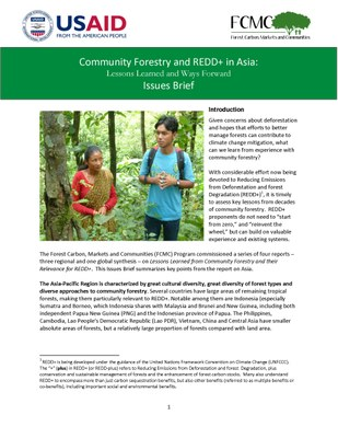 Lessons Learned from Community Forestry in Asia and Their Relevance for REDD+: Issues Brief