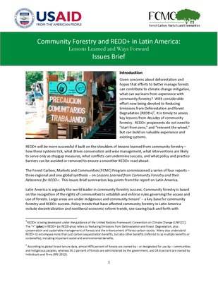 Lessons Learned from Community Forestry in Latin America and Their Relevance for REDD+: Issues Brief