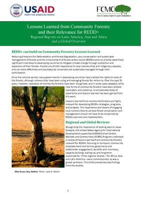 Lessons Learned from Community Forestry Their Relevance for REDD+: Issues Brief