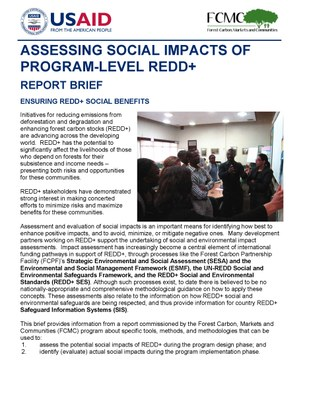 Methods for Assessing and Evaluating Social Impacts of Program-Level REDD+: Issues Brief