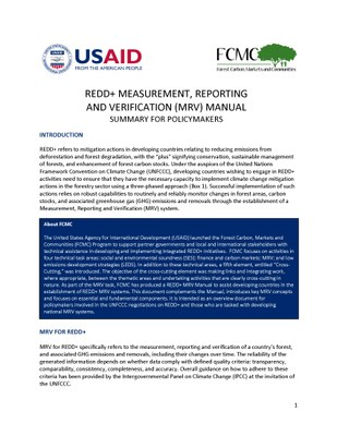 REDD+ Measurement, Reporting and Verification (MRV) Manual Version 2.0: Summary for Policymakers