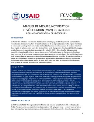Manuel de mesure, notification et verification (MNV) de la REDD+ 2.0 resume a l'intention des decideurs