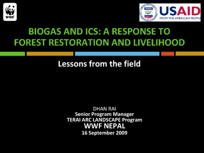Biogas and ICS: A Response to Forest Restoration and Livelihood