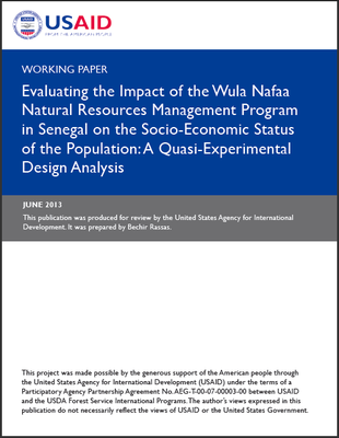 Working Paper - Evaluating the Impact of the Wula Nafaa Natural Resources Management Program in Senegal on the Socio-Economic Status of the Population: A Quasi-Experimental Design Analysis