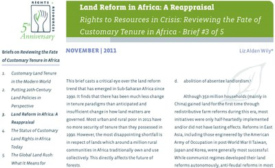 Land Reform in Africa: A Reappraisal - Rights to Resources in Crisis: Reviewing the Fate of Customary Tenure in Africa - Brief #3 of 5