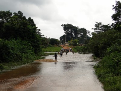 Flooded bridge hindering evaluation