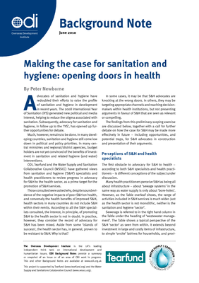 Making the case for sanitation and hygiene: opening doors in health, 2010