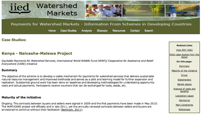 Kenya - Naivasha-Malewa Project: IIED Watershed Markets Case Study