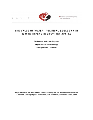 The value of water: Political ecology and water reform in Southern Africa