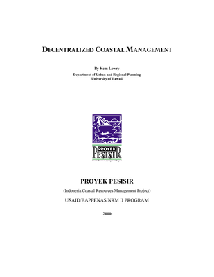 Decentralized coastal management: Indonesia learning report.  2001