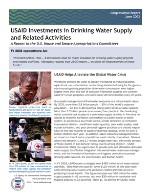 Water Team. 2003. USAID investments in drinking water supply and related activities