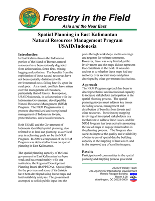 Spatial Planning In East Kalimantan Natural Resources Management Program Usaid Indonesia Forestry In The Field July 2001 Usaid Natural Resource Management And Development Portal