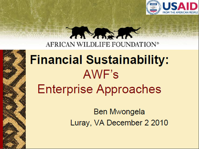 SCAPES: Financial Sustainability - AWF's Enterprise Approaches