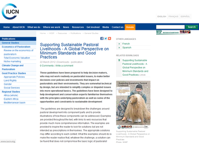 Supporting Sustainable Pastoral Livelihoods - A Global Perspective on Minimum Standards and Good Practices