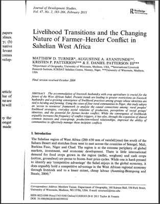 Livelihood Transitions and the Changing Nature of Farmer-Herder Conflict in Sahelian West Afirca
