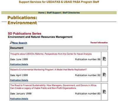 USAID Africa SD Publications Series: Environment and Natural Resources Management