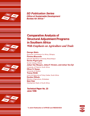 Comparative Analysis of Structural Adjustment Programs in Southern Africa: With Emphasis on Agriculture and Trade