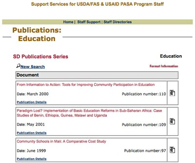 USAID Africa SD Publications Series: Education