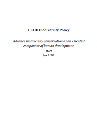 USAID Biodiversity Policy: Advance biodiversity conservation as an essential component of human development