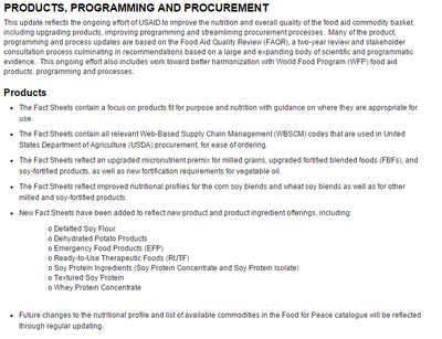 USAID Products, Programming and Procurement