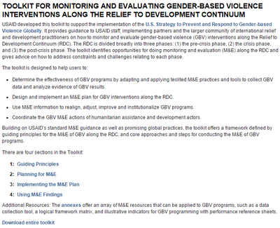 USAID Toolkit For Monitoring and Evaluating Gender-Based Violence Interventions Along the Relief to Development Continuum