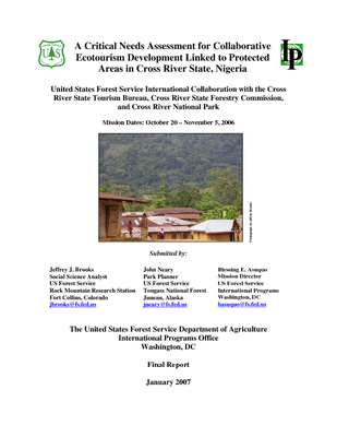 Nigeria USFS Trip Report: Critical Needs Assessment for Collaborative Ecotourism Development Linked to Protected Areas in Cross River State; Oct 06