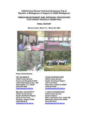 Madagascar USFS IP Trip Report: Timber Measurement and Appraisal Procedures for Forest Product Permitting; Mar 04