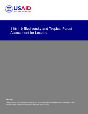 Lesotho USFS IP Trip Report: USAID Biodiversity and Tropical Forest Assessment (118/119); Jul 07