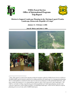 DR Congo USFS IP Trip Report: Mission to Support Landscape Planning in the Maringa-Lopori-Wamba Landscape; Jan 06