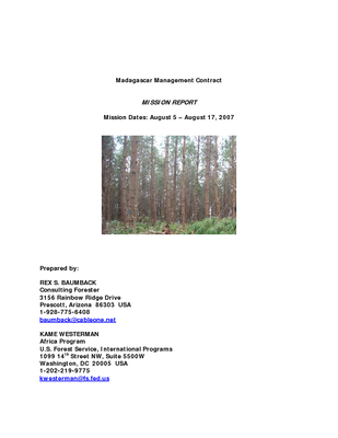 Madagascar USFS IP Trip Report: Management Contract for the Mandaratsy Plantation; Aug 07
