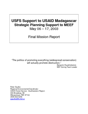 Madagascar USFS IP Trip Report: Support to USAID Madagascar, Strategic Planning Support to MEF in Zoning Issues; Jun 03