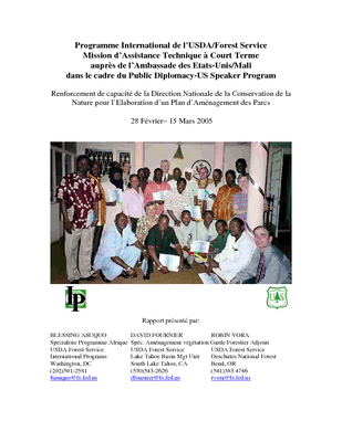 Mali USFS  IP Trip Report: Increase Capacity Building for the Malian Nature Conservation Authority for the Development of a Park Management Plan; Mar 05 | French Version