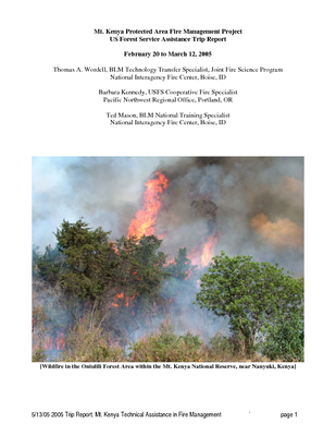 Kenya USFS IP Trip Report: Mt. Kenya Protected Area Fire Management Project; Mar 05