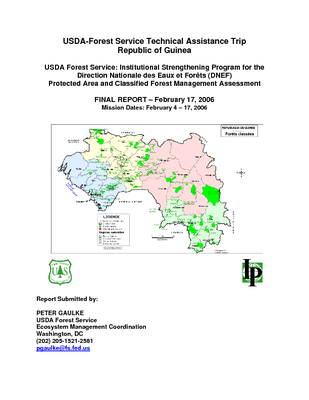 Guinea USFS IP Trip Report: Assessment of Protected Areas and Classified Forest Management; Feb 06