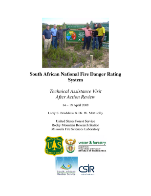 South Africa USFS IP Trip Report: After Action Review of the National Fire Danger Rating System; Apr 08