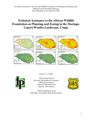 DR Congo USFS IP Trip Report: Technical Assistance to the African Wildlife Foundation on Planning and Zoning in the Maringa-Lopori-Wamba Landscape; Oct 07