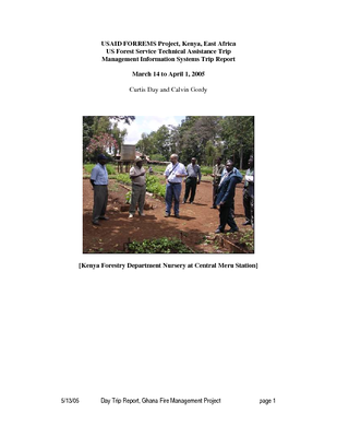 Kenya USFS IP Trip Report: Support of USAID FORREMS Project: Action Plan and Budget to Develop, Operate and Maintain an Electronic Information Network; Mar 05