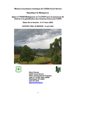 Madagascar USFS IP Trip Report: In Support to USAID Madagascar and DGEF Madagascar on the Reform Process and Planning for Future USFS Missions; Mar 05 | French Version