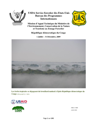 DR Congo USFS IP Report:  Mission to Support Forest Zoning, MECNT; April 2010 French