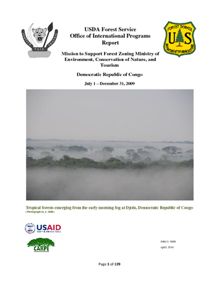 DR Congo USFS IP Report:  Mission to Support Forest Zoning, MECNT; April 2010