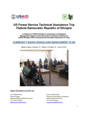 Ethiopia USFS Trip Report: Rangeland Management Planning Mission in Support of USAID PLI II; May 2011