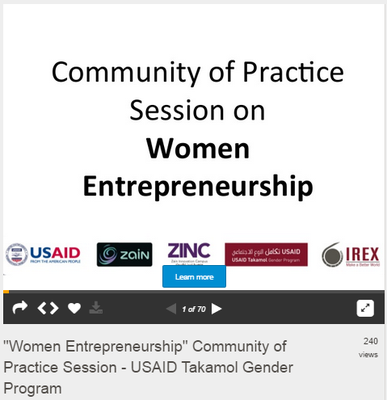 Women Entrepreneurship - Community of Practice Session - USAID Takamol Gender Program