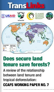 Cover: Does secure land tenure save forests? A review of the relationship between land tenure and tropical deforestation (CCAFS Working Paper No. 7)